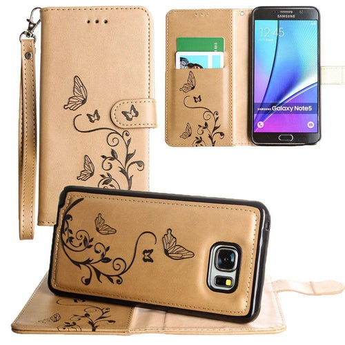 Samsung Galaxy Note 5 - Embossed Butterfly Design Wallet Case with Detachable Matching Case and Wristlet, Taupe for Samsung Galaxy Note 5