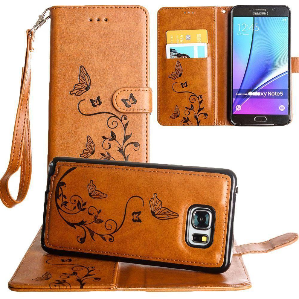 Galaxy Note 5 - Embossed Butterfly Design Wallet Case with Detachable Matching Case and Wristlet, Brown for Samsung Galaxy Note 5