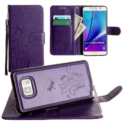 Samsung Galaxy Note 5 - Embossed dragonfly over tulip design wallet case with Matching detachable magnetic case and wristlet, Purple for Samsung Galaxy Note 5