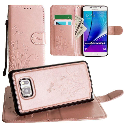 Samsung Galaxy Note 5 - Embossed dragonfly over tulip design wallet case with Matching detachable magnetic case and wristlet, Rose Gold for Samsung Galaxy Note 5