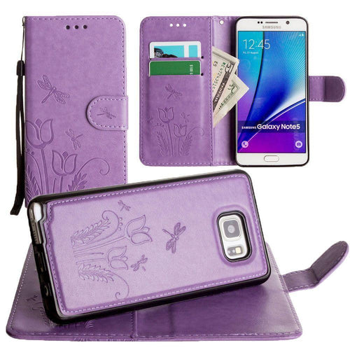 Samsung Galaxy Note 5 - Embossed dragonfly over tulip design wallet case with Matching detachable magnetic case and wristlet, Lavender