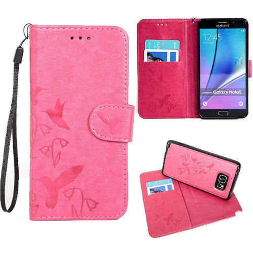 Samsung Galaxy Note 5 - Embossed Humming Bird Design Wallet Case with Matching Removable Case and Wristlet, Hot Pink for Samsung Galaxy Note 5