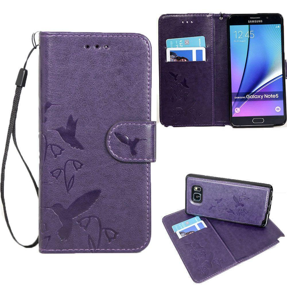 - Embossed Humming Bird Design Wallet Case with Matching Removable Case and Wristlet, Purple for Samsung Galaxy Note 5