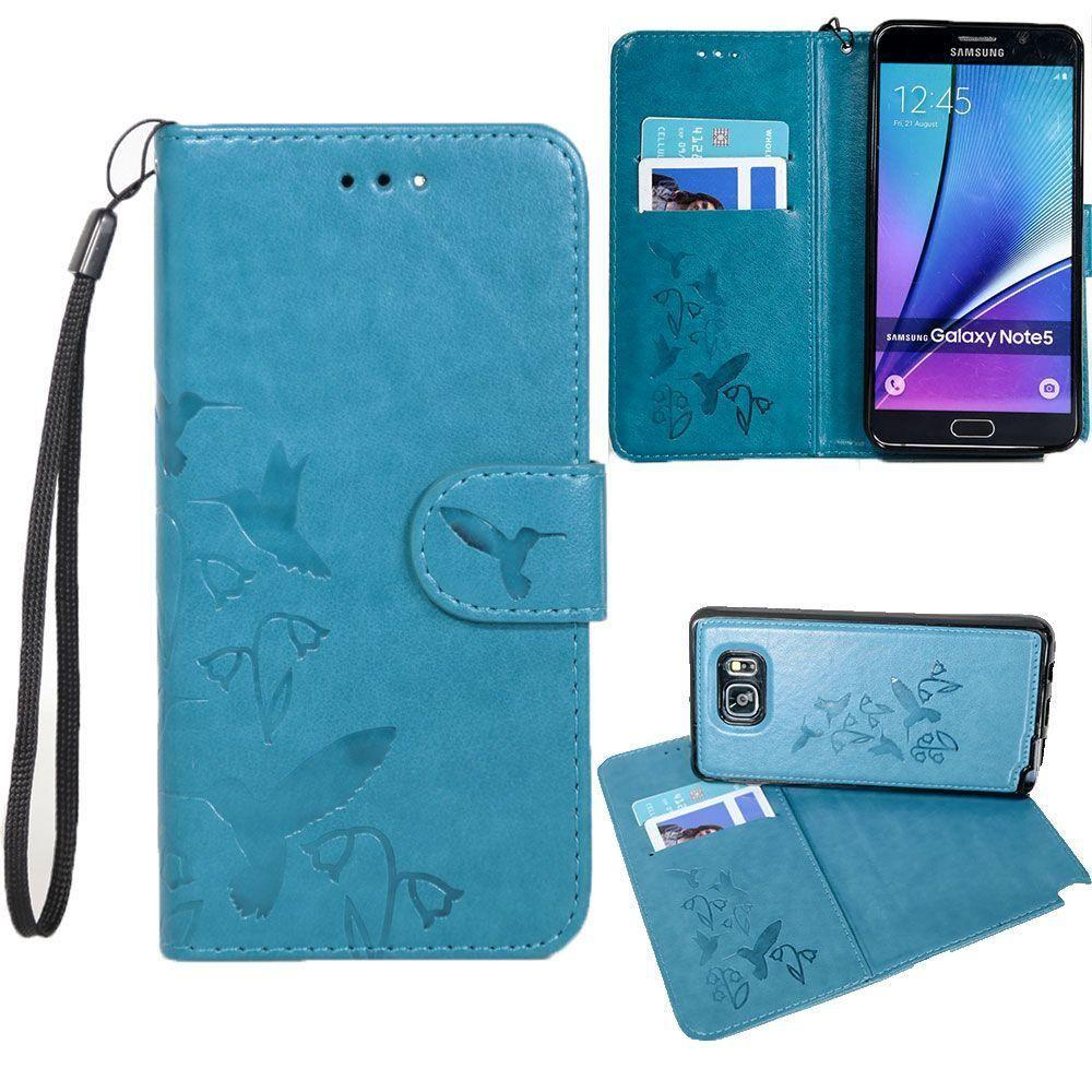 Accessories - Embossed Humming Bird Design Wallet Case with Matching Removable Case and Wristlet, Teal Blue for Samsung Galaxy Note 5