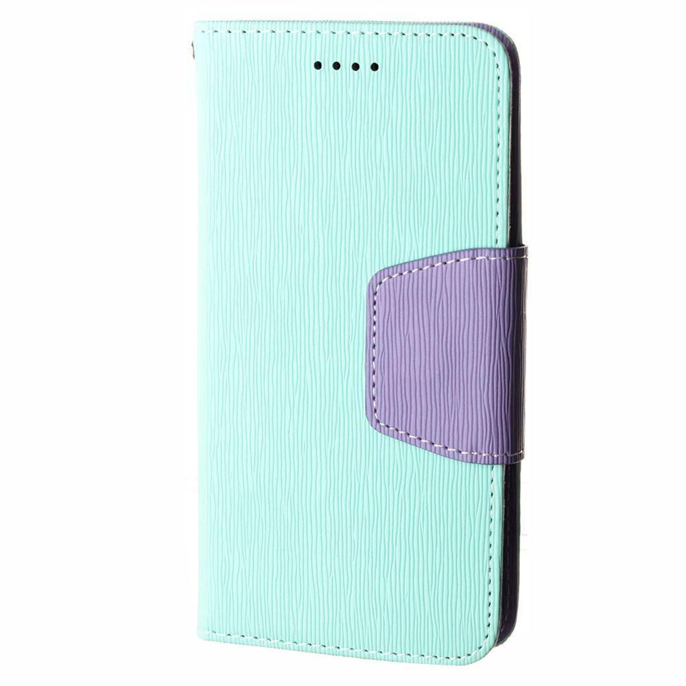 - Leather Folding Wallet Phone Case, Mint/Purple for Samsung Galaxy S6 Edge