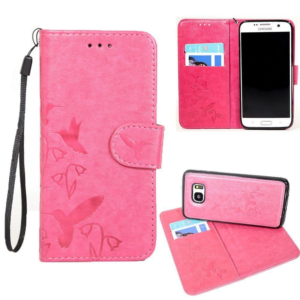 - Embossed Humming Bird Design Wallet Case with Matching Removable Case and Wristlet, Hot Pink for Samsung Galaxy S7 Edge