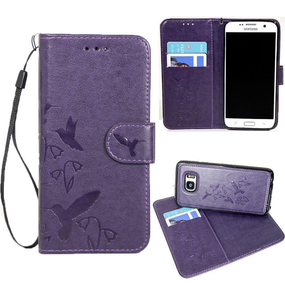 - Embossed Humming Bird Design Wallet Case with Matching Removable Case and Wristlet, Purple for Samsung Galaxy S7 Edge