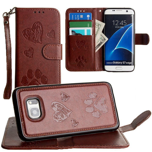 Samsung Galaxy S7 Edge - Puppy Love Wallet with Matching Detachable Magnetic Phone Case and Wristlet, Brown for Samsung Galaxy S7 Edge