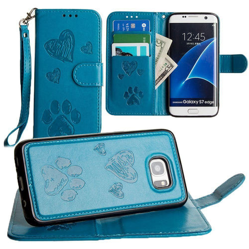 Samsung Galaxy S7 Edge - Puppy Love Wallet with Matching Detachable Magnetic Phone Case and Wristlet, Teal for Samsung Galaxy S7 Edge