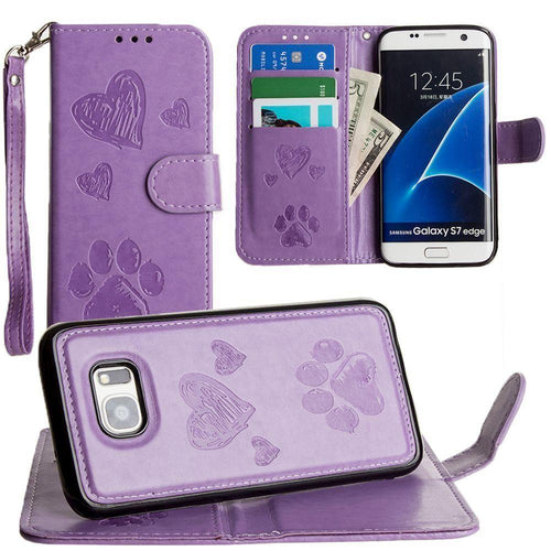 Samsung Galaxy S7 Edge - Puppy Love Wallet with Matching Detachable Magnetic Phone Case and Wristlet, Lavender for Samsung Galaxy S7 Edge