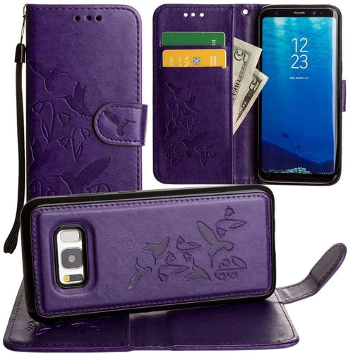 Clearance Accessories - Embossed Humming Bird Design Wallet Case with Matching Removable Case and Wristlet, Purple