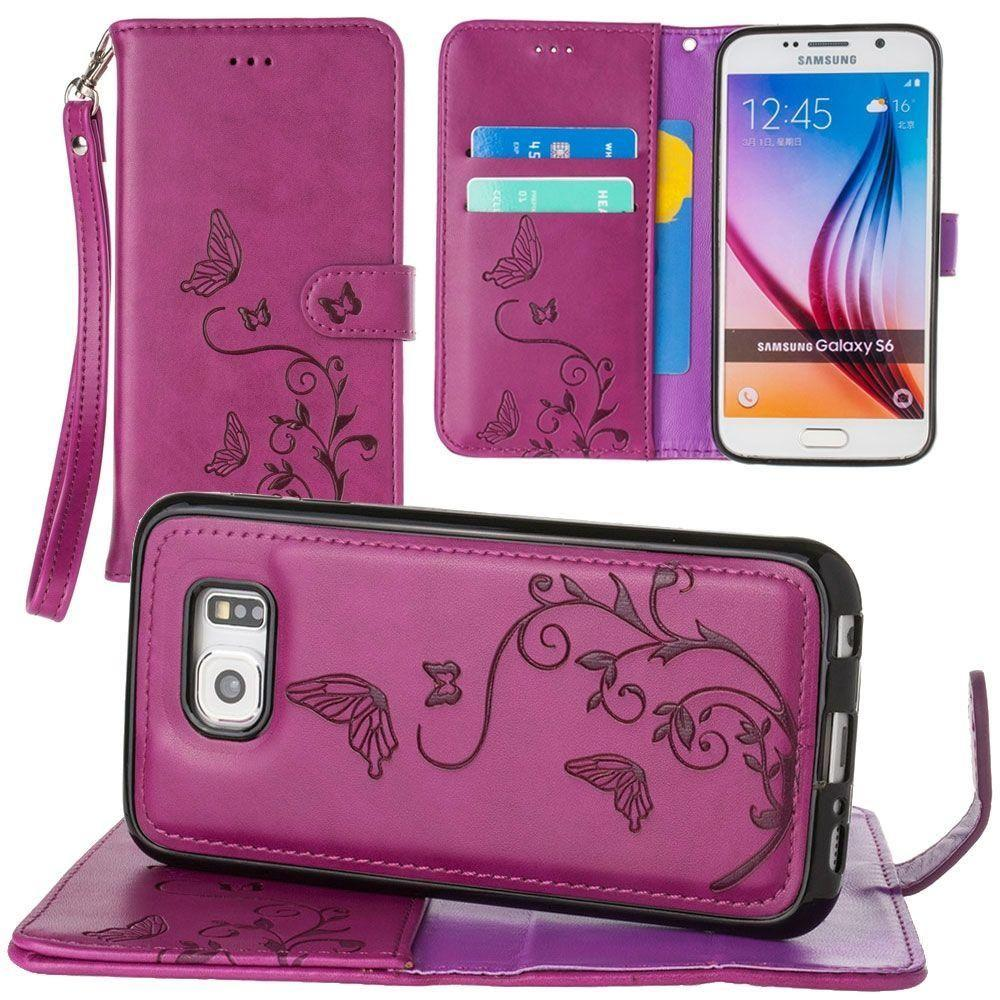 - Embossed Butterfly Design Wallet Case with Detachable Matching Case and Wristlet, Magenta for Galaxy S6