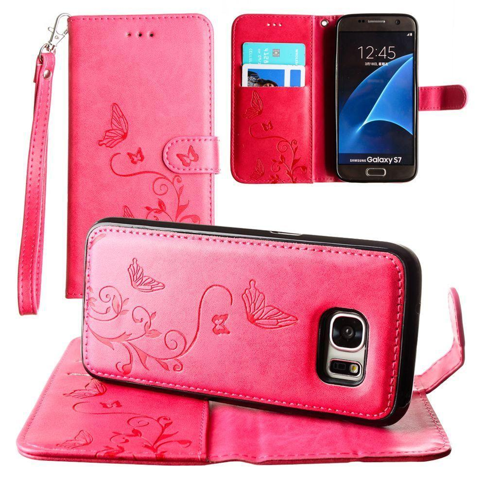 - Embossed Butterfly Design Wallet Case with Detachable Matching Case and Wristlet, Hot Pink for Samsung Galaxy S7