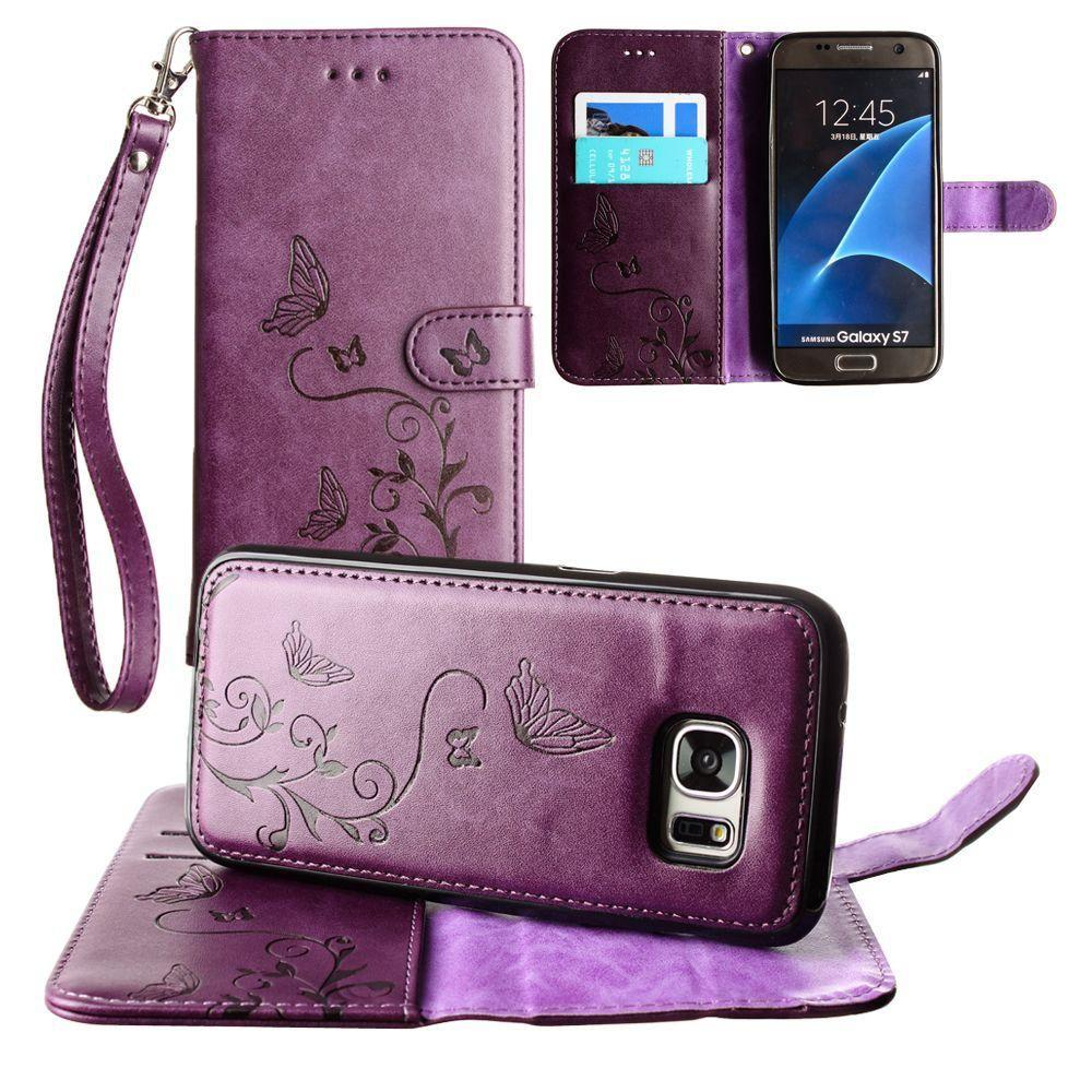 - Embossed Butterfly Design Wallet Case with Detachable Matching Case and Wristlet, Purple for Samsung Galaxy S7