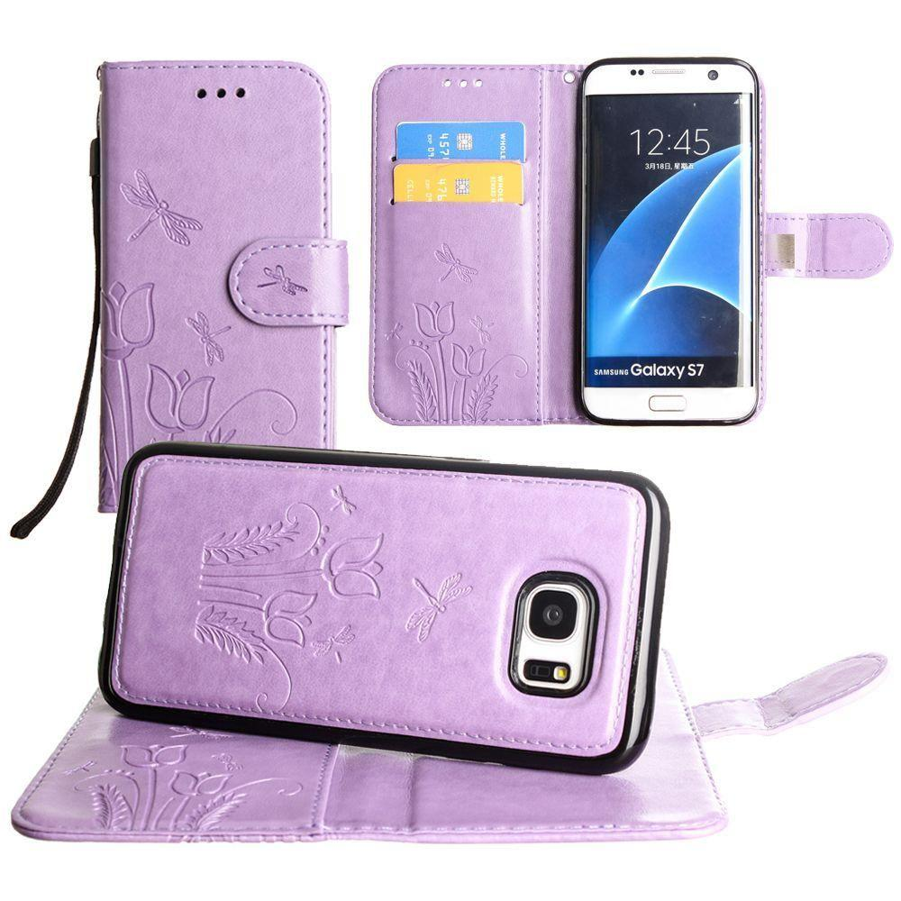 - Embossed dragonfly over tulip design wallet case with Matching detachable magnetic case and wristlet, Lavender for Samsung Galaxy S7