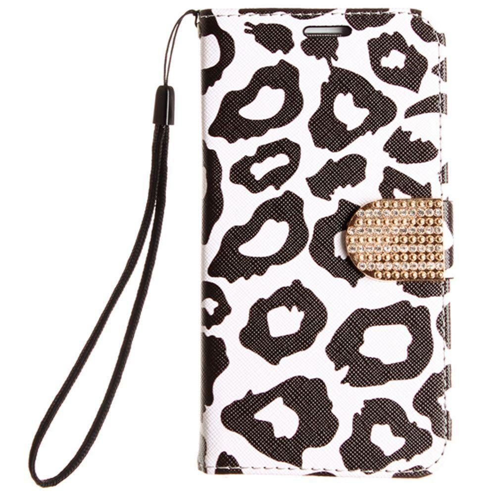 - Leopard Shimmering Folding Phone Wallet, Black for Samsung Galaxy S7