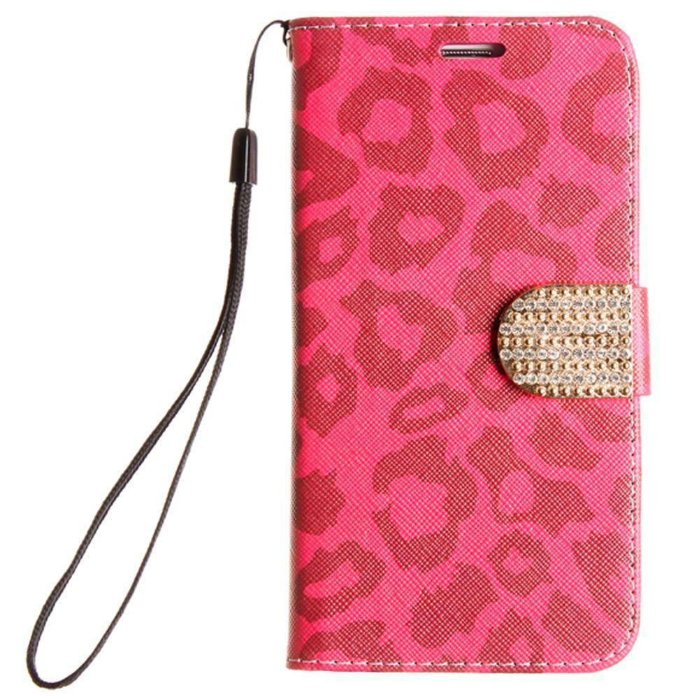 - Leopard Shimmering Folding Phone Wallet, Pink for Samsung Galaxy S7