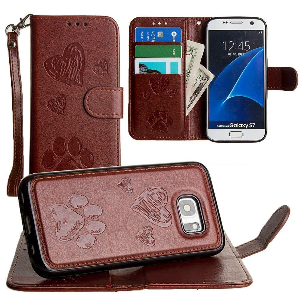 - Puppy Love Wallet with Matching Detachable Magnetic Phone Case and Wristlet, Brown for Samsung Galaxy S7