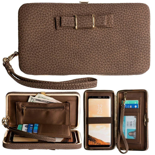 Alcatel Onetouch Fierce Xl - Bow clutch wallet with hideaway wristlet, Brown