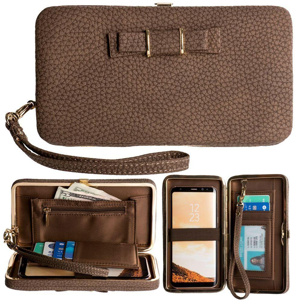 Warp 4g - Bow clutch wallet with hideaway wristlet, Brown