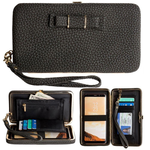 Lg Stylo 2 - Bow clutch wallet with hideaway wristlet, Black