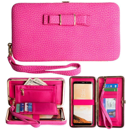 Pantech Pg 3810 - Bow clutch wallet with hideaway wristlet, Pink