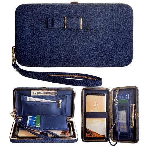 Alcatel Onetouch Pop Star 2 Lte - Bow clutch wallet with hideaway wristlet, Navy