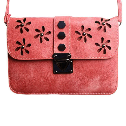 Zte Score - Laser Cut Studded Flower Design Crossbody Clutch, Coral