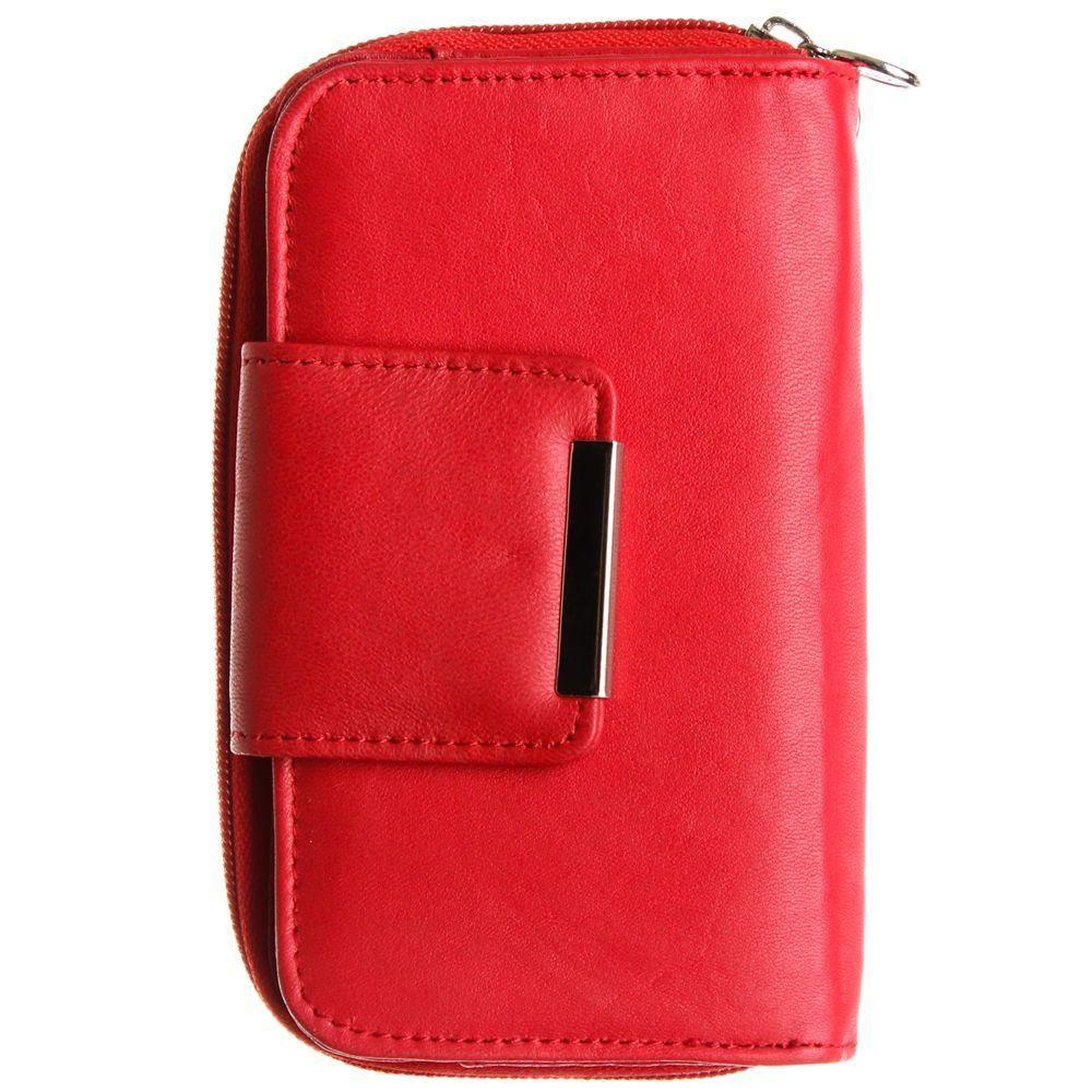 - Genuine Leather Wallet Clutch with Wristlet, Red