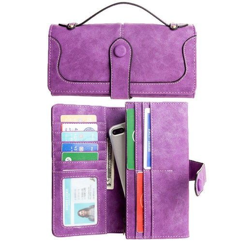 Huawei Y6 - Snap Button Clutch Compact wallet with handle, Purple