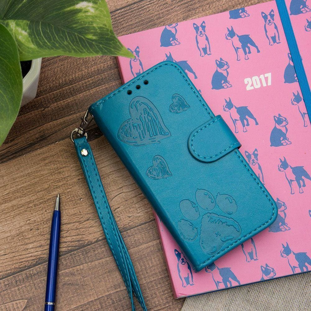 On your next trip, take your love of dogs with you with the blue Puppy Love wallet case | CellularOutfitter