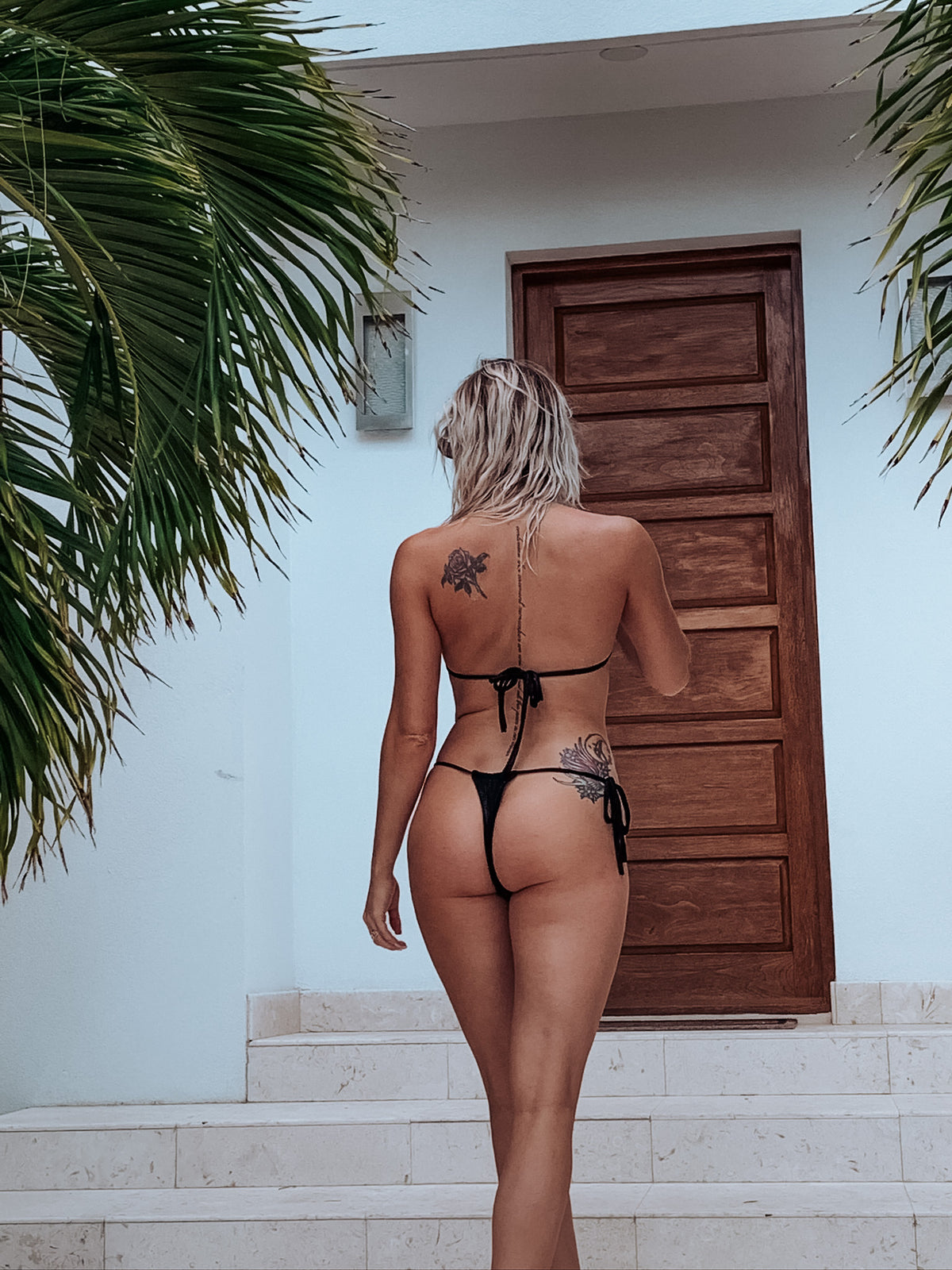 Black High Cut String Thong