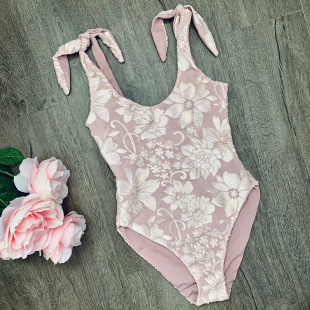 Velvet Floral Shoulder Tie One Piece