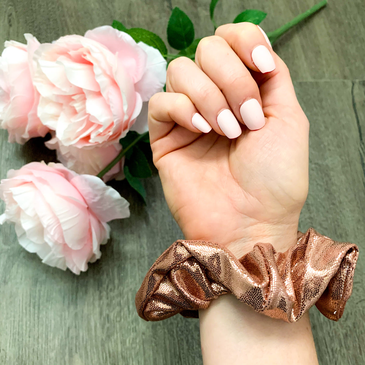 Rose Gold Shimmer Scrunchie