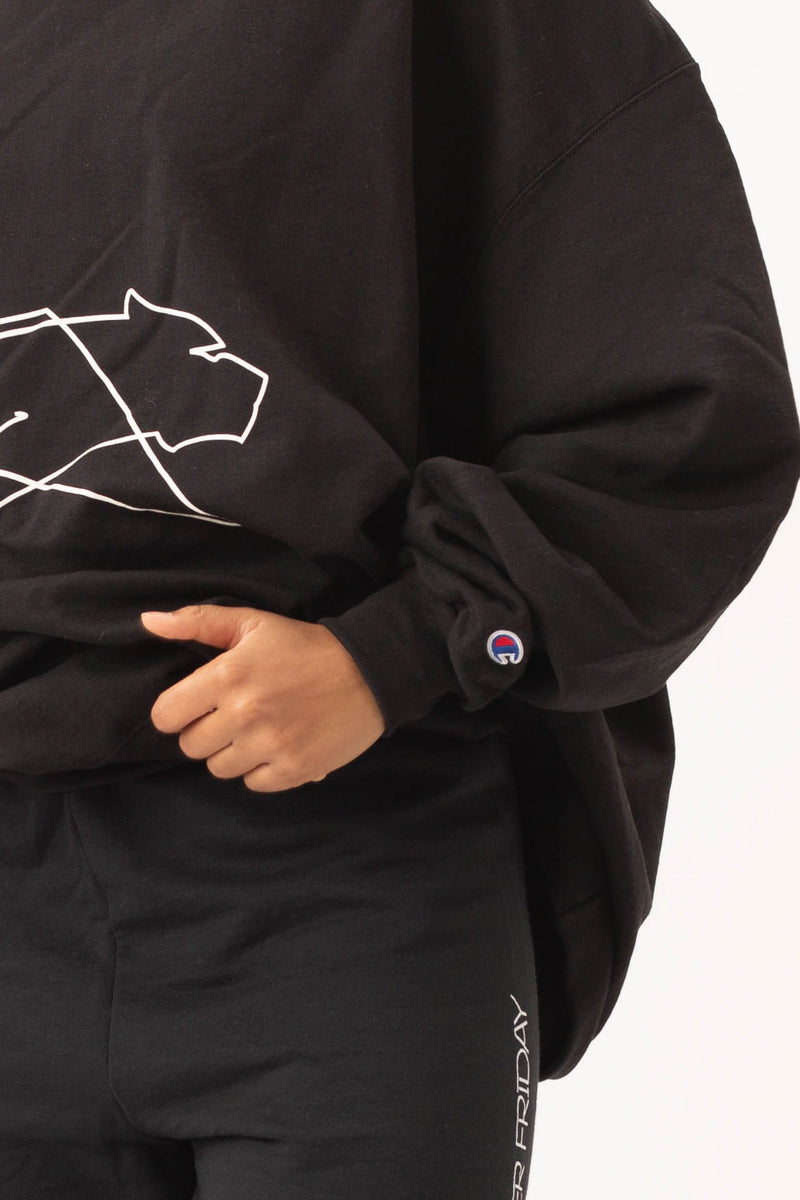 "TFxChampion ""Street Ink"" Oversized Sweatshirt - Jet Black"