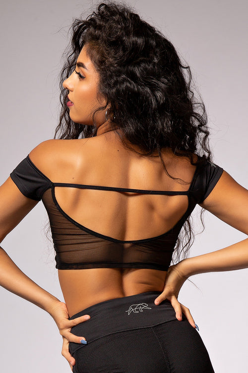 Hepburn Crop Top - Black