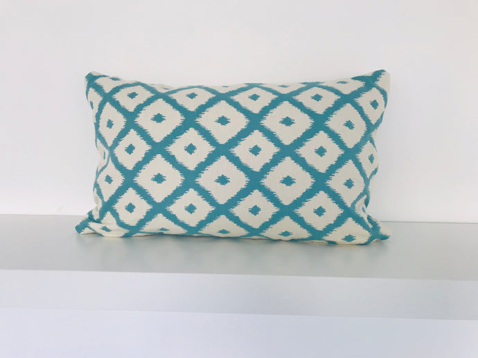 Beige & Blue Diamond Cushion Cover