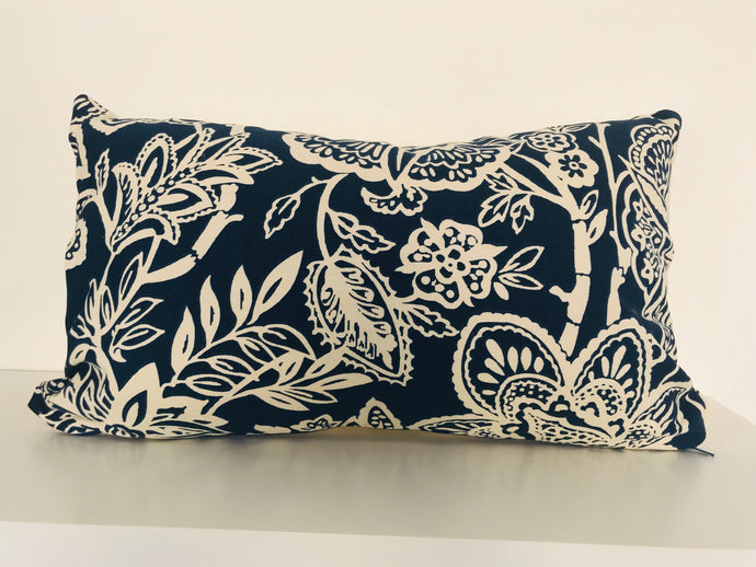 Dark Blue Floral Cushion Cover