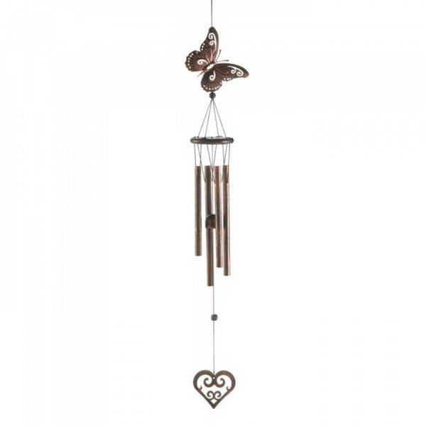 Butterfly And Heart Windchime - Red Dragon Unleashed