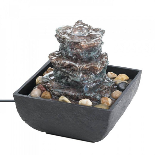 Rock Tower Tabletop Fountain - Red Dragon Unleashed