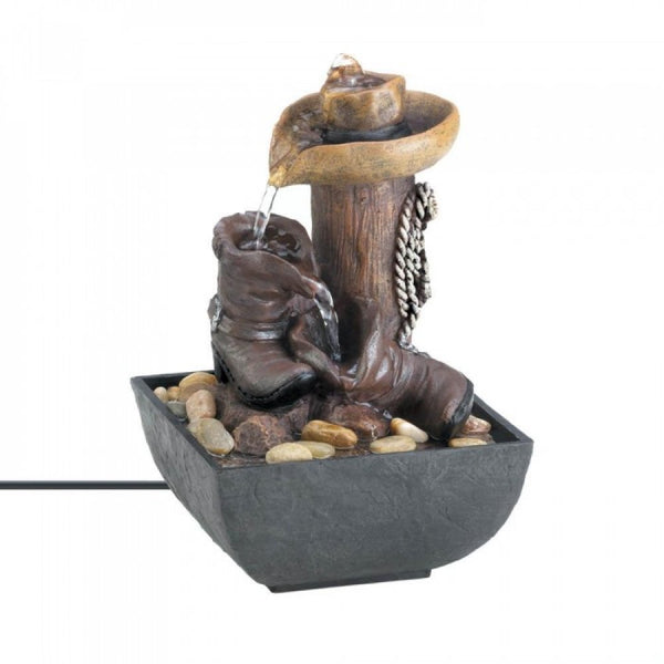 Western Tabletop Water Fountain - Red Dragon Unleashed