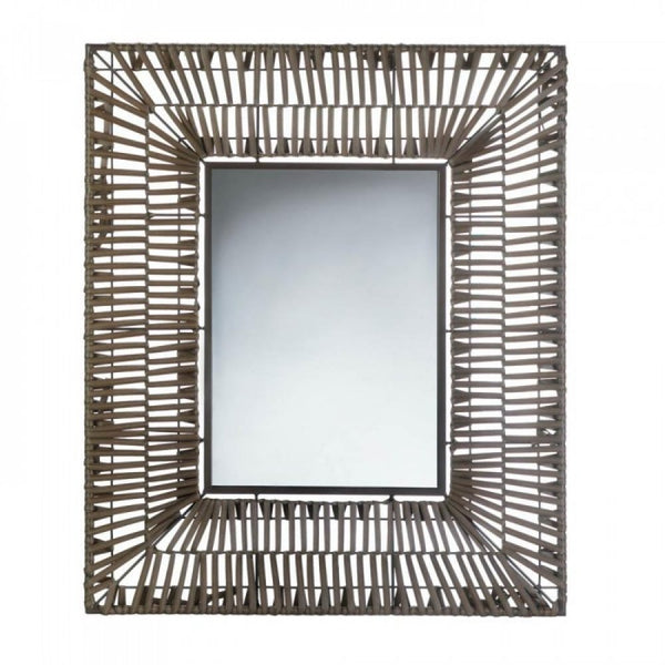 Faux Rattan Rectangular Wall Mirror - Red Dragon Unleashed