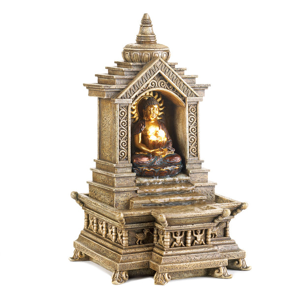 Golden Buddha Temple Fountain - Red Dragon Unleashed