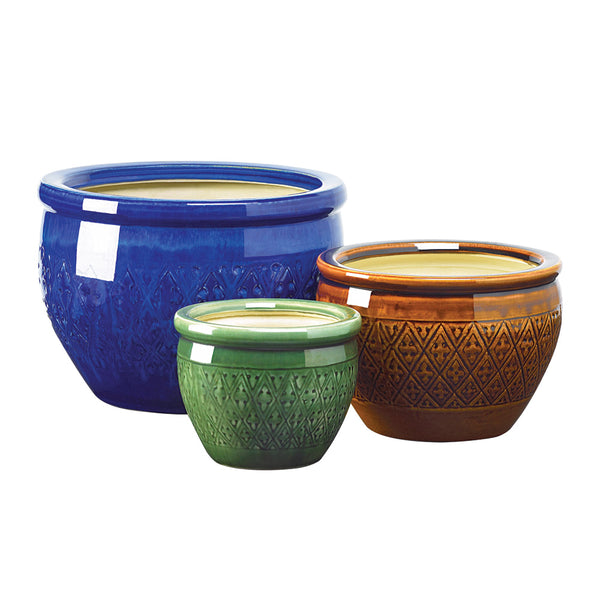 Jewel-tone Flower Pot Trio - Red Dragon Unleashed