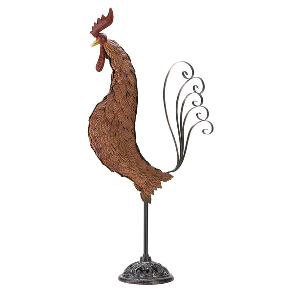Metal Sculpture Rooster - Red Dragon Unleashed