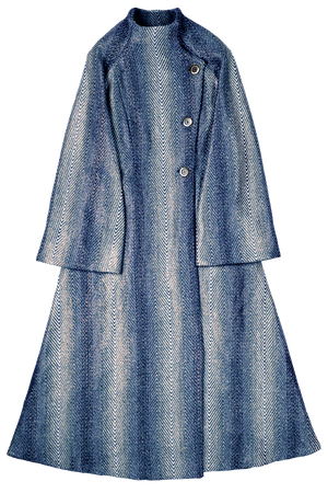 Blue Chevron Pattern Long Coat Flat