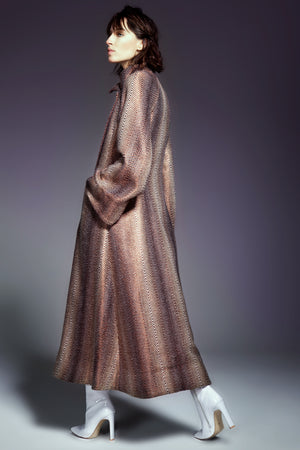 Copper Chevron Pattern Long Coat