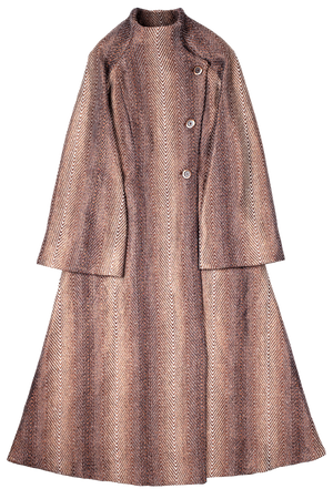 Copper Chevron Pattern Long Coat Flat