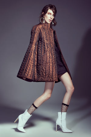 Copper Graphic Quilted Short Coat