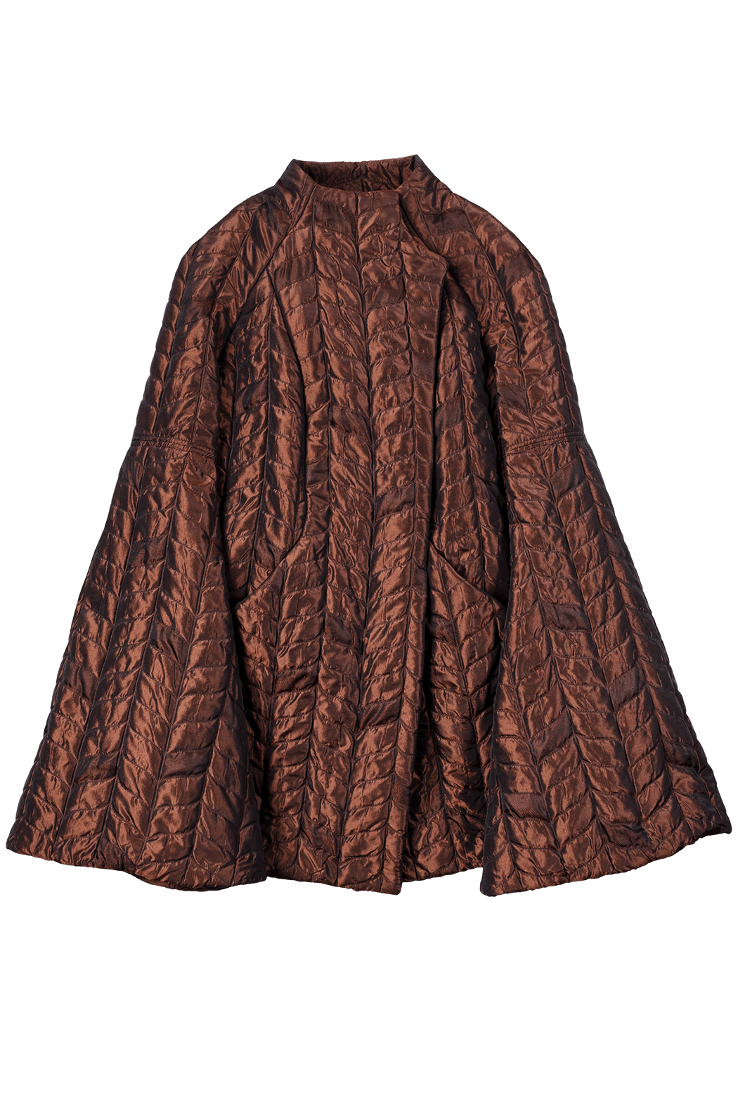 Copper Graphic Quilted Short Coat Flat